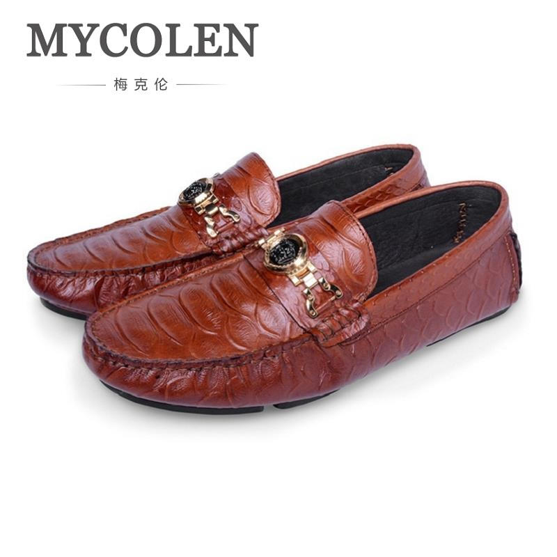 MYCOLEN 2018 Men Casual Shoes Leather Fashion Driving Shoes Male Loafers Moccasins Italian Shoes For Men Flats Sepatu Pria zplover fashion men shoes casual spring autumn men driving shoes loafers leather boat shoes men breathable casual flats loafers