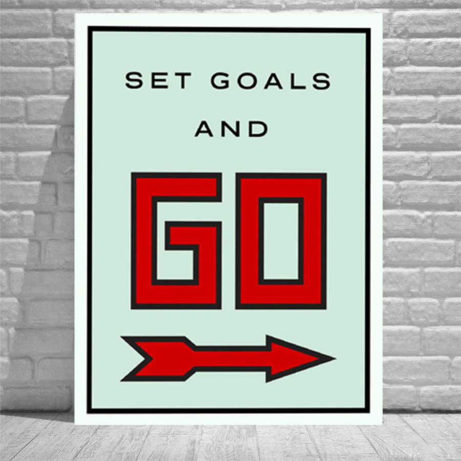 Alec Monopolys Set Goals And Go HD Wall Art Canvas Poster Print Canvas Painting Decorative for Office Living Room Home Decor