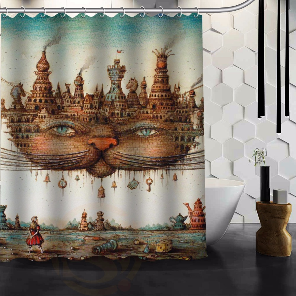 Custom printed shower curtains - Creative Cat Printed Classical Nice Best Decor Bath Room Custom Shower Curtain 120x185cm Free Shipping