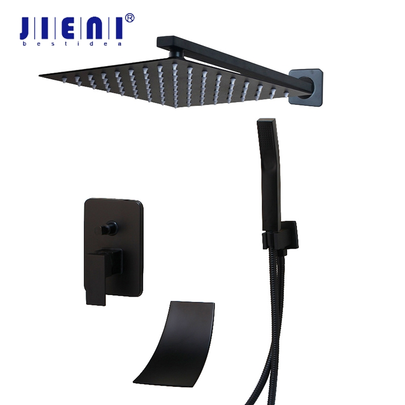 JIENI 8 10 12 16 Inch Black Shower Rainfall Tub Shower Faucet Bathtub Rain Square Shower