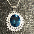 natural blue topaz gem pendant S925 silver Natural gemstone Pendant Necklace trendy classic Diana round women girl gift jewelry
