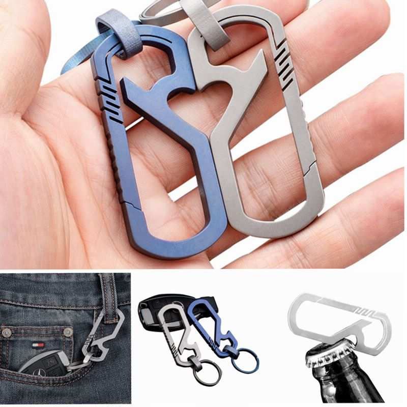 Titanium Carabiner Key Chain Clip Keychain Waist Hiking Camp Mountaineering Hook Bottle Opener Outdoor Climbing Accessories