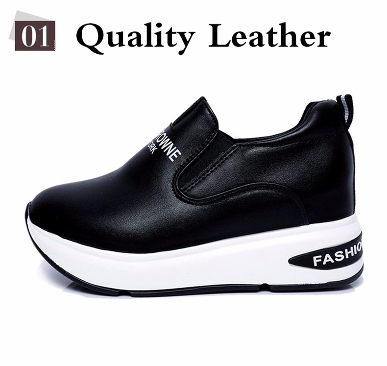 Shoes Women High Top Autumn Quality Leather Wedges Casual Shoes Height Increasing Slip On Ladies Shoes Trainers Size 35-39 YD139 (5)