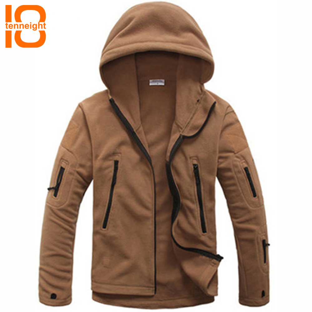 все цены на TENNEIGHT Military Tactical Fleece Jacket Men warmth Coat thickening Multiple Pocket Windbreaker Hoodie liner fleece Army Jacket
