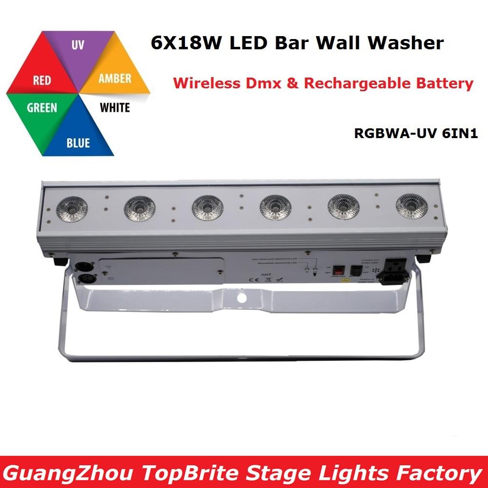 1Pcs/Lot NEW Led Wall Washer Light 6X18W RGBWA UV Wireless DMX & Battery Led Wall Wash Lights For Stage Dj Disco Laser Lights
