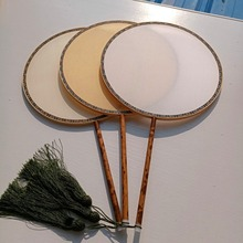 Handmade White Blank Hand Fans Round Mulberry Silk Fan Chinese Traditional Craft Bamboo Handle Fan DIY hand Painting Embroidery silk traditional bamboo fan with painting ancient chinese golden