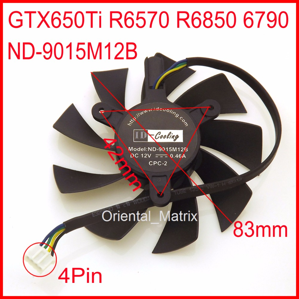 Free Shipping ND-9015M12B 12V 0.46A 4Pin 83mm 42x42x42mm For YESTON <font><b>GTX650Ti</b></font> R6570 R6850 6790 Graphics Card Cooler Cooling Fan image