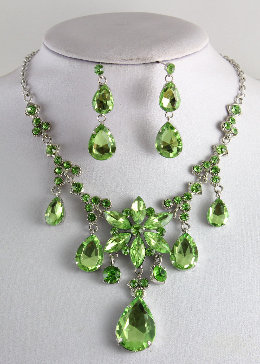 Fashion Green Amethyst Prom White Gold Plated Necklace Earring Sets-in Jewelry Sets