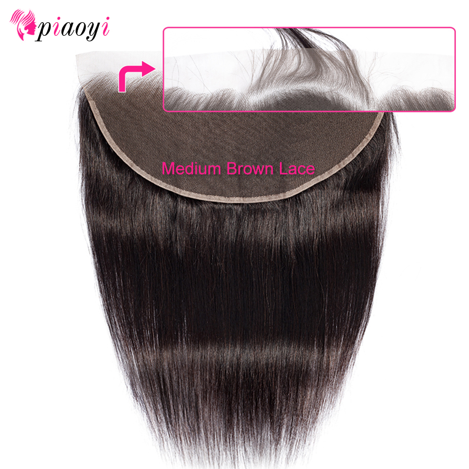 Piaoyi Lace Frontal Closure 13x6 Brazilian Straight Human Hair Closure Middle/Free/Three Part Remy Hair Natural Color No Smell(China)