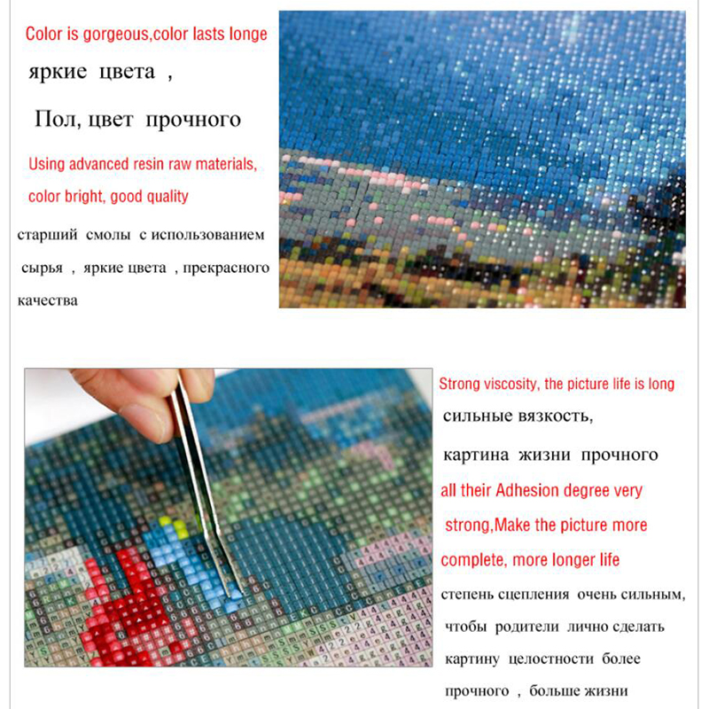 Full Drill Square Diamond 5D DIY Painting quot Sunset river view quot Embroidery Cross Stitch Rhinestone Mosaic Painting in Diamond Painting Cross Stitch from Home amp Garden