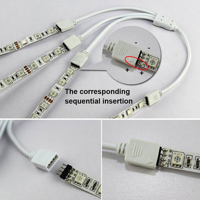 4 Pin RGB przewód łączący 1 do 2 3 4 5 portów LED przedłużacz kabel splittera przewód do listwy RGB LED z 4 Pin wtyczki