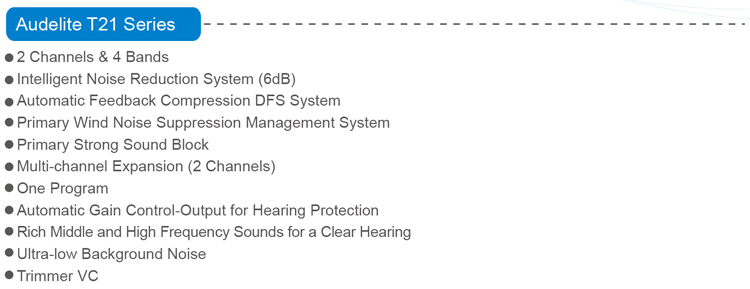 T21 Dynamic Feedback Powerful Invisible Hearing Aids CIC