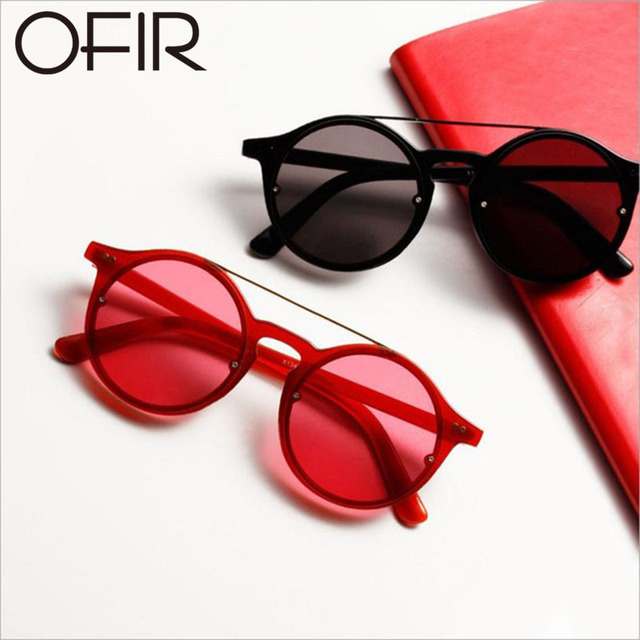 c4b0fec50a OFIR Vintage Style Sunglasses Woman Double Bridge Fashion Round Frame Vivid  Colors Lens Sun Glasses Transparent Eyewear UV400