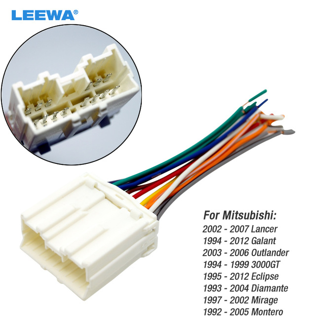 leewa car radio stereo wiring harness adapter for mitsubishi lancer rh aliexpress com car radio wiring harness walmart car radio wiring harness color codes