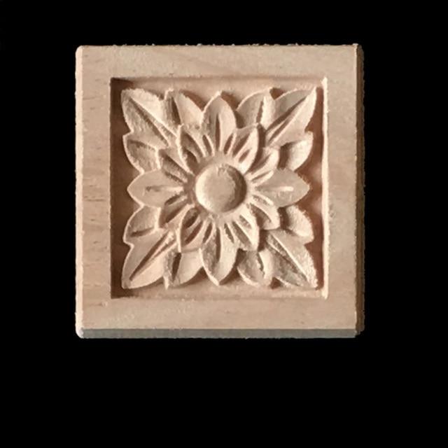Vintage flower pattern wood carved corner woodcarving decal round