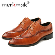 Merkmak 38-48 Fashion Leather shoes Men Dress Shoe Pointed Oxfords Shoes For Lace Up Designer Luxury Formal 2018