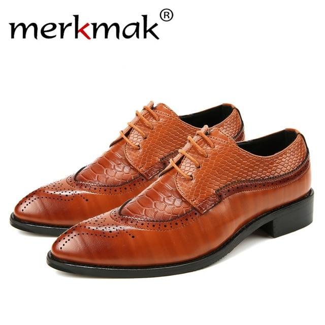 Merkmak 38-48 패션 가죽 shoes Men Dress 슈 첨 옥스포드 화 대 한 Men Lace Up 디자이너 Luxury Men 공식적인 Shoes 2018