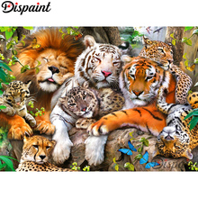 Dispaint Full Square/Round Drill 5D DIY Diamond Painting Animal tiger lion 3D Embroidery Cross Stitch Home Decor Gift A10089 dispaint full square round drill 5d diy diamond painting animal tiger sceneryembroidery cross stitch 3d home decor gift a11463