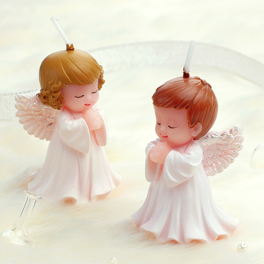 Creative White/gold cartoon baby angel candles child birthday candle Festival party cake candels decor Smokeless technology