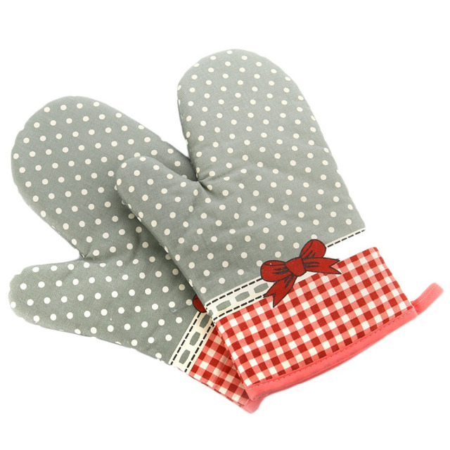 Cute Bow Bowknot Polka Dot Grid Oven Mitt Cooking Mitts Pot Holder Potholder Heat Resistant