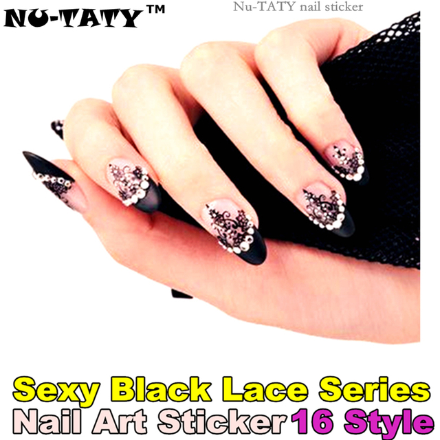 Nu Taty Black Lace Rhinestones Nail Art Sticker 16 Model 12pcsset