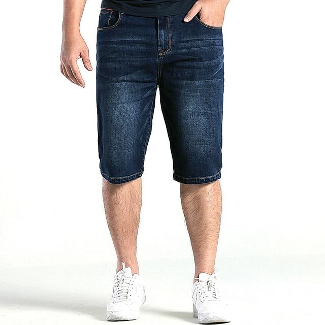 659f9dda232 GXXH Large size Mens denim shorts Mens Plus Size 28-36 38 40 42 44 46 48  Blue Stretch Deep Blue Denim Jeans Shorts for Men Jean