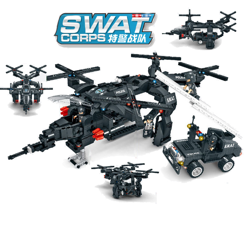 784pcs Children s educational building blocks toy Compatible city Special police Vulture armed aircraft figures Bricks