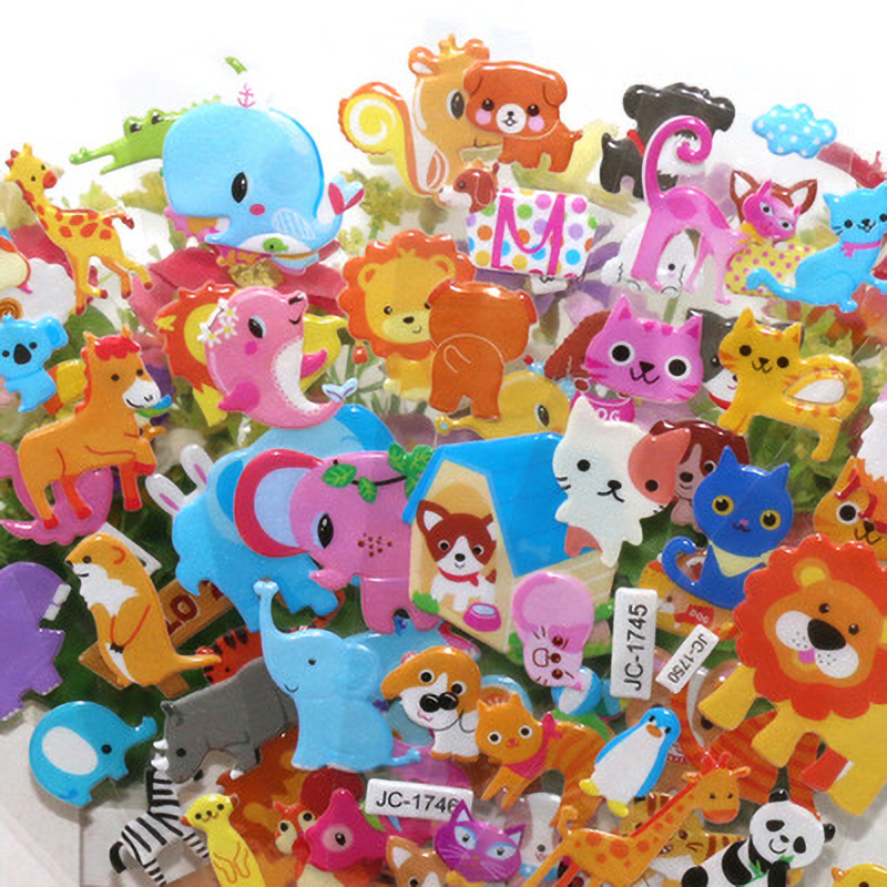6Pcs/Lot Children's Cartoon Animal Stickers Early Education 3D Stereo Stickers Kindergarten Reward Bubble Children's Stickers