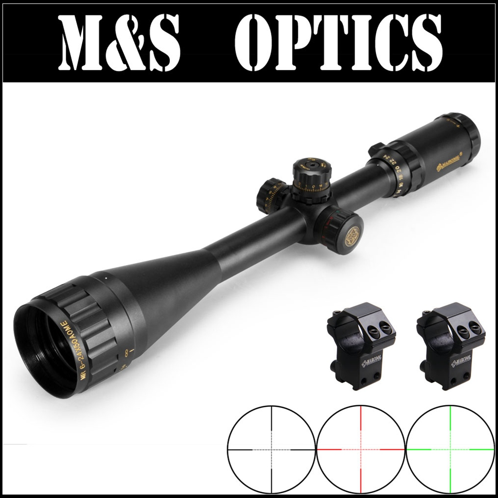 Marcool 6-24X50 AOME Gold Lettering Guns Air Soft Tactical Rifles Optical Hunting Scopes Sight With Riflescopes Mounts Free Ship marcool 4 16x44 side focus front focal plane optical sights rifle scope hunting riflescopes for tactical gun scopes for adults
