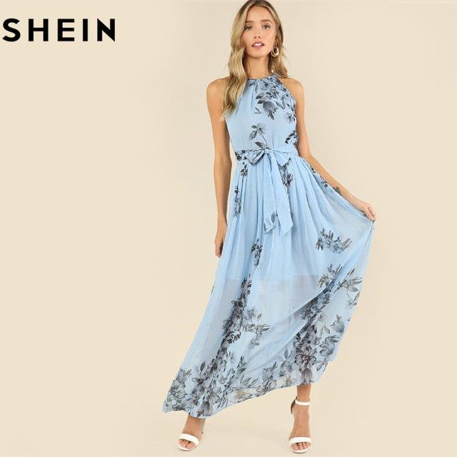 b2f04c3a052d SHEIN Botanical Print Pleated Halter Dress Casual Sleeveless Halter Floral Women  Dress 2018 Summer Blue A-Line Zipper Dress