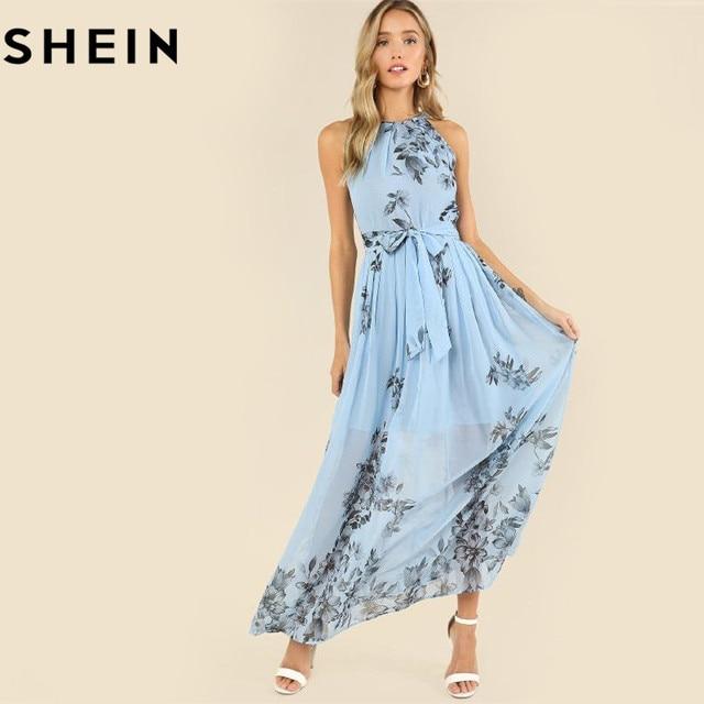 b2945ed759a8 SHEIN Botanical Print Pleated Halter Dress Casual Sleeveless Halter Floral  Women Dress 2018 Summer Blue A-Line Zipper Dress
