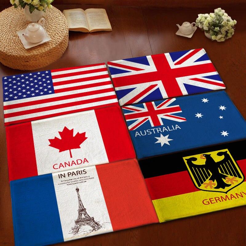 2016 vente Chaude Salle De Bains absorbant non-slip Tapis US UK Australie France Canada Allemagne Drapeau Paillasson Flanelle Coussin pour animaux De compagnie