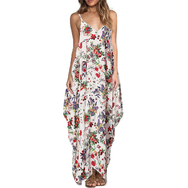 ZANZEA Boho Long Dress Women's Spaghetti Strap Backless Sexy Floral Print Loose Sleeveless Maxi Beach Dresses Plus Size Vestidos