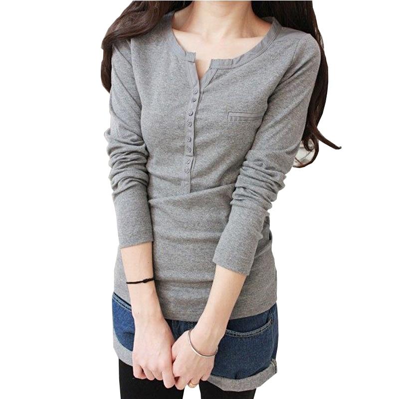 T Shirt Women 2018 Tops Long Sleeve Tees Button T-Shirt Half Open Collar Korea Clothes Plus Size Vetement Femme Womans Tshirt To