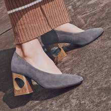 2017 Krazing Pot shoes women fashion hollow med heels genuine leather pumps slip on ladies shoes square toe nude work pumps 88