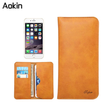 Aokin Luxury Real Leather Wallet Case Phone Bag Pouch for iphone 7 6 plus Xiaomi Mi5 Redmi Note 3 Pro Meizu M3 M3S note ZTE A510