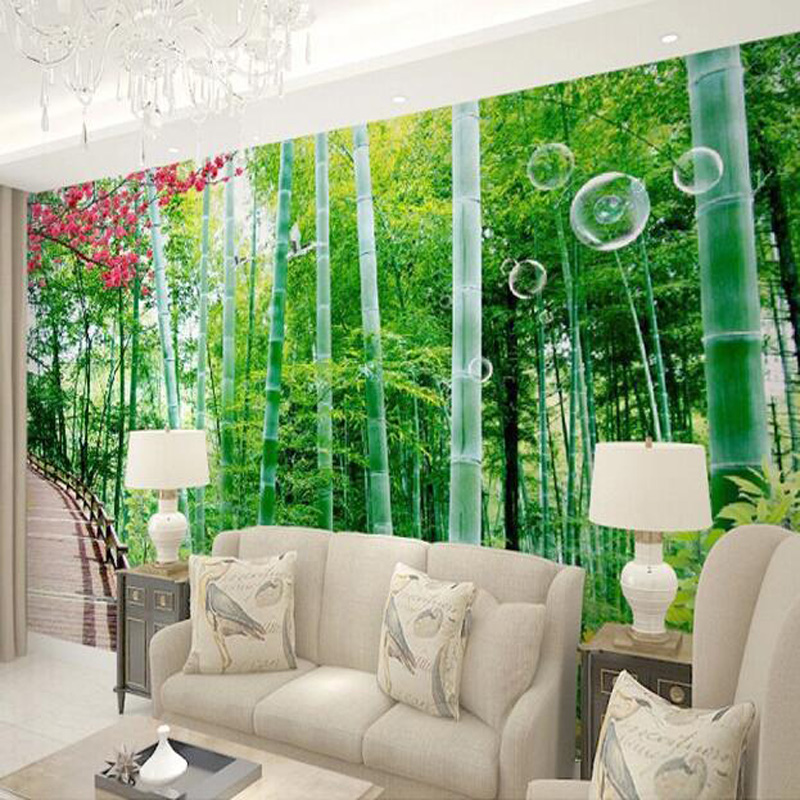 Great wall any size 3d bamboo forest photo large wallpaper for Bamboo forest wall mural wallpaper