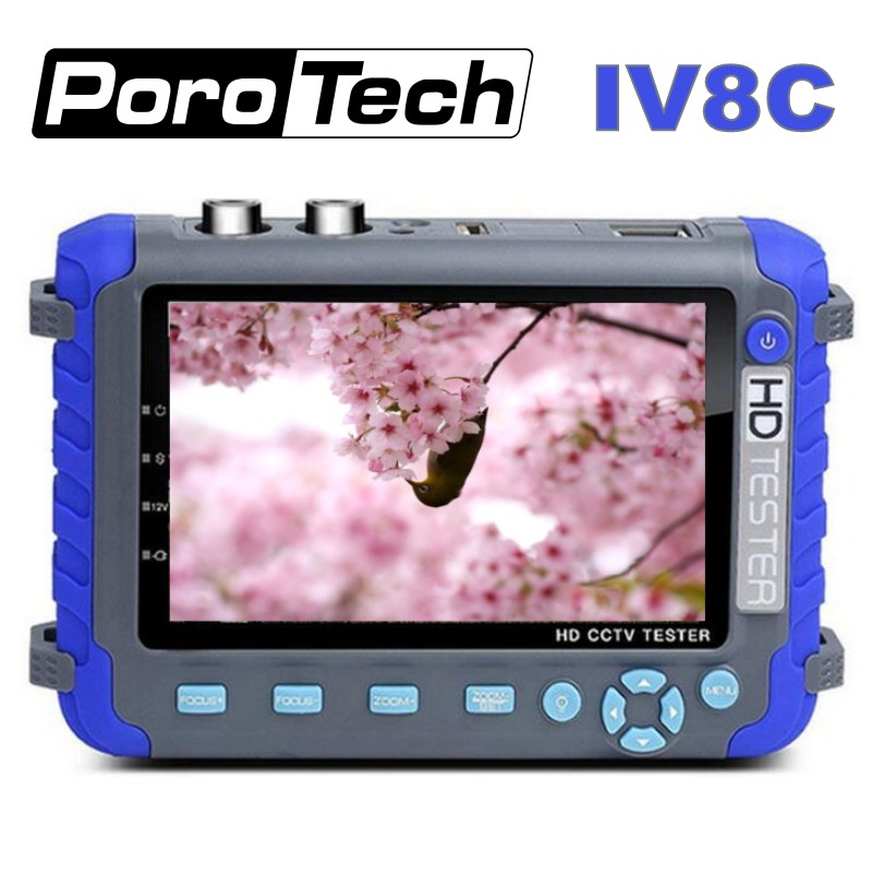 Professional CCTV Security Testing Tool IV8C 5 Inch TFT LCD 5MP AHD TVI 4MP CVI CVBS CCTV Camera Tester Monitor Support PTZ UTP
