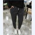 2016 Nova Outono Casual Algodão Solto Harem Pants Plus Size Bolsos Senhora Primavera Calças Harem Pants Soltas Capris xadrez Grade Preta calças