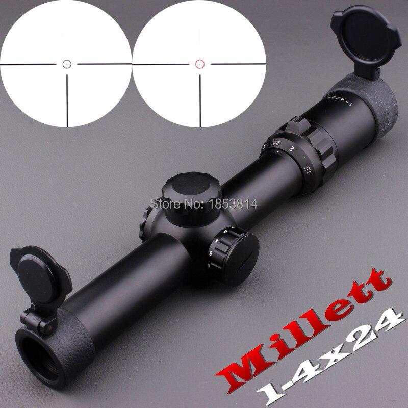 2016 New Millett 1-4x24 Illuminated Dot-30mm Tube Rifle Scope For Hunting Free Shipping цена