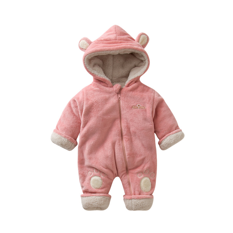 2018 Winter Baby Jumpsuits Newborn Fleece Outfits Infant Romper Long Sleeve Overalls Boys Girls Animal Ear Clothes Bear Feet baby clothing infant baby kid cotton cartoon long sleeve winter rompers boys girls animal coverall jumpsuits baby wear clothes