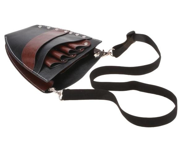 Faux Leather Barber Scissors Hairdressing Kit Bag with Shoulder Waist Belt Case Holder Rivet Clips Bag