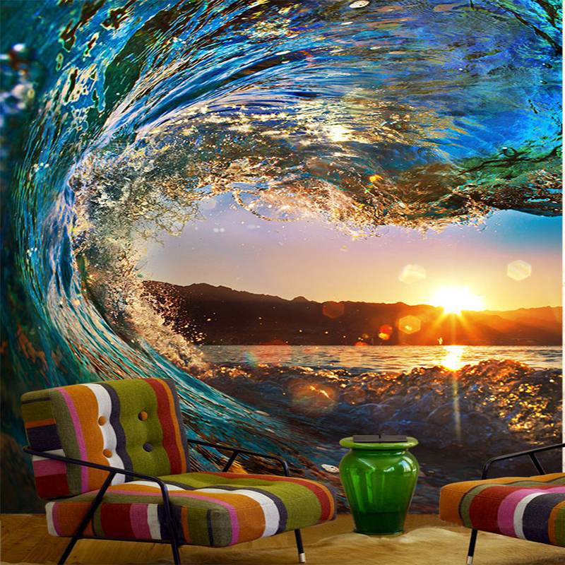Wave Sunset Photo Wallpaper Scenery For Walls Modern 3D