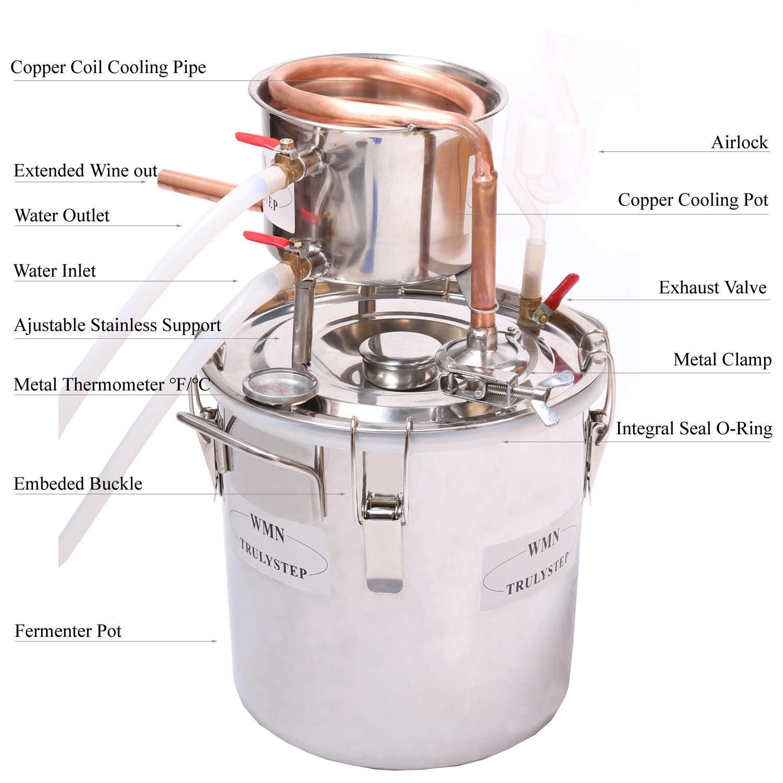 Дистиллятор «сделай сам» для домашнего использования, 3 галл/12 литров, для спиртового виски, воды, кулера, кулера, Moonshine Still, нержавеющая бойлер, набор для пивоварения