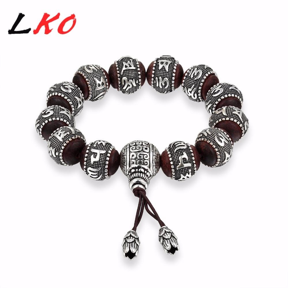LKO S990 Bracelet bouddhisme tibétain traditionnel en bois de santal hommes Six mots Mantras OM MANI PADME HUM amulettes en métal vieilli perles-in Bracelets ficelle from Bijoux et Accessoires    1