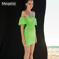 2019 Summer Women Bandage Dress Vestidos Sexy Green Strapless Off Shoulder Club Dress Elegant Celebrity Runway Party Dress