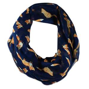 Ring Scarf Shawl Voile Fox-Printed Soft Little Women Ladies Cute Casual Autumn Animal