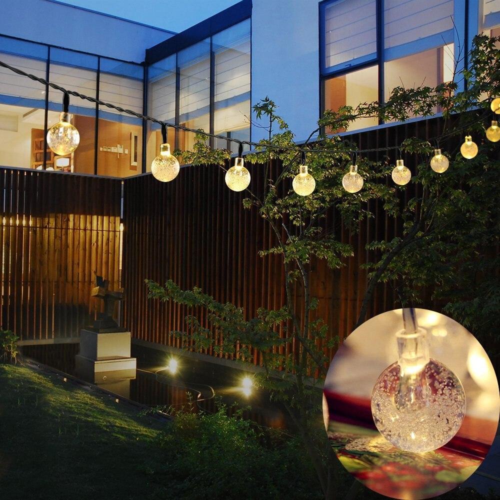 Kmashi 6 м 30 светодиодный хрустальный шар Гирлянды светодиодные солнечных панелей Водонепроницаемый Наружное Освещение Строка Фея Света сад солнечного света лампы