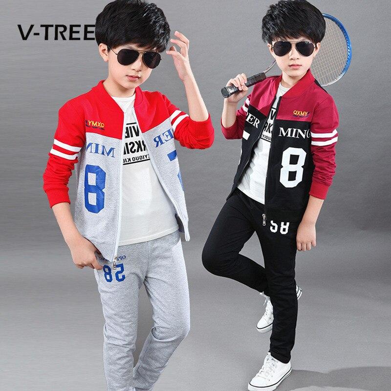 V TREE 2017 School Boys Clothing Sets Teenage Boys Sports Suit Sets Clothes Cardigan Sweatshirt Pants
