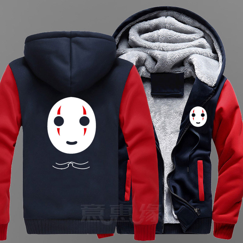 Nouveau sweat à capuche animé Miyazaki Hayao sans visage homme manteau veste hiver hommes épais sweat à glissière-in Sweats à capuche et sweat-shirts from Vêtements homme    1